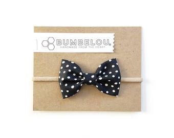 Classic Fabric Bow - Monarch Dot - Headband or Clip
