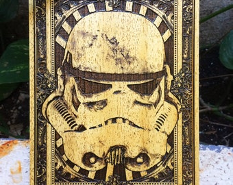 Stormtrooper Star Wars Mini Poster on Wood Engraved, Customizable Star Wars Gift Idea, Personalizable Starwars Gift for Him, Nerd Gift