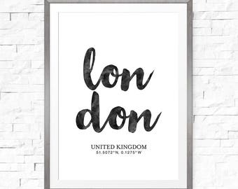 London coordinates, Printable download, Coordinate print, London art, Typography poster, Coordinate gift, London printable art