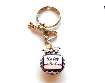 "Keychain badge - bag charm ""Aunty who rocks!"", waves, blue, plum"