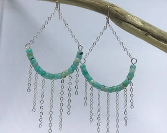 Amazonite Earrings with silver chain
