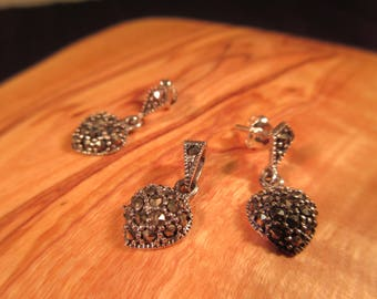 Delicate Vintage Sterling Silver Marcasite Heart Earrings and Pendant