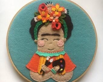 Embroidery Hoop Art, Wall Art, Frida Kahlo, orange, turquoise, yellow, paint brush, felt flowers, nursery room decor, kids room decor