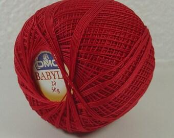 SCOTLAND NO. 20 BABYLO DMC RED CROCHET THREAD SPOOL 50 GRAMS