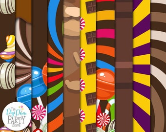 Chocolate Factory/Candy Digital Scrapbooking Paper Pack, Buy 2 Get 1 FREE. Instant Download