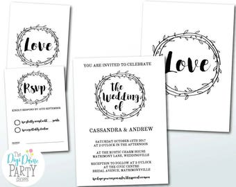Rustic Wedding Printable Invitation and RSVP in Black & White, 5x7in. Instant Download