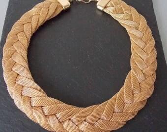 Gold Woven Plait Style Statement Necklace