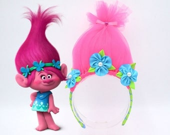 SALE 10% OFF - Custom Trolls Headbands, Troll Hot  Pink Poppy Headband. Troll Hair, Troll Headband,
