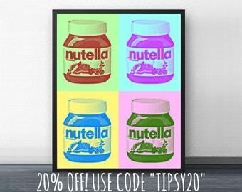 WARHOL NUTELLA - andy warhol - pop art - 1960's - kitchen art - poster - 8x10 - 11x14 - marilyn monroe - bar cart - chocolate - cupcakes