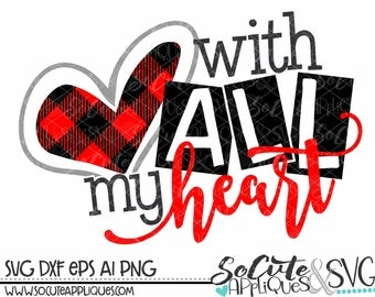 Valentines Day SVG, With all my Heart svg, Valentines svg, cupid svg, socuteappliques, Wedding svg, boy valentine svg, girl valentine svg