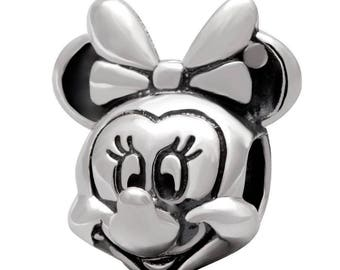 Disney MINNIE MOUSE PORTRAIT Charm / New / Sterling Silver / Threaded / Fully Stamped