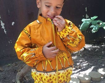 African Wax Giraffe Bomber Jacket
