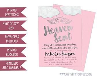 Heaven sent baby shower invitations Etsy