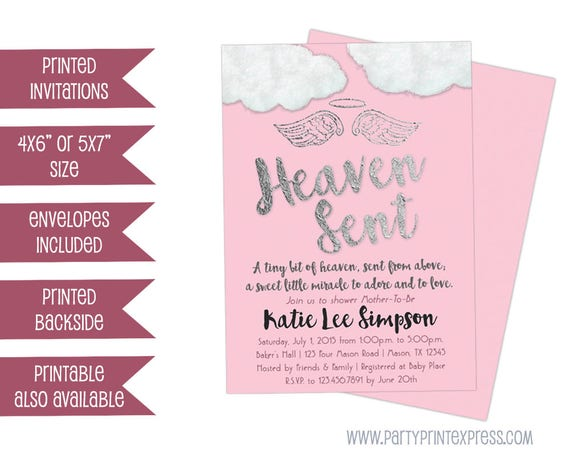 Pink Heaven Sent Baby Shower Invitations Pink Angel Wings Baby