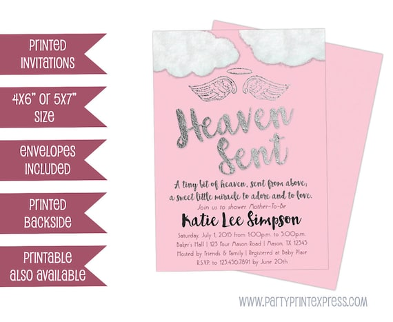 Pink heaven sent baby shower invitations pink angel wings baby il570xn filmwisefo