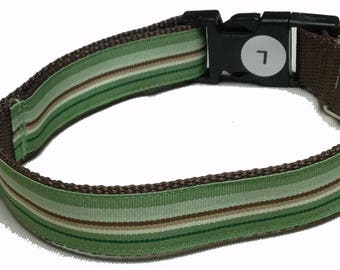 Dog Collar, Stripe - Chocolate Mint