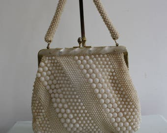 Vintage 1950s Ivory Clasp Day Bag