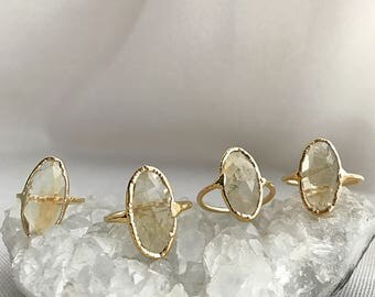 Citrine Gold Ring // Citrine Ring // Citrine Gold Plated Ring