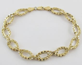 14k Yellow Gold Rolo Link Popcorn Bracelet 7 1/2 Inches 4.4  grams