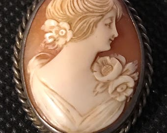 Antique carved shell cameo sterling pin