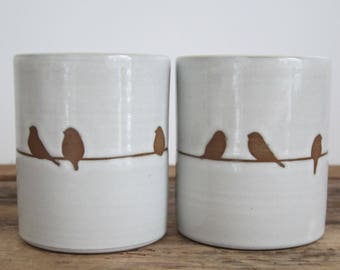 Set of Handmade Bird on a Wire Tumblers