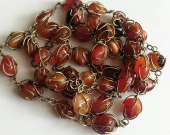 Vintage wrapped agate necklace