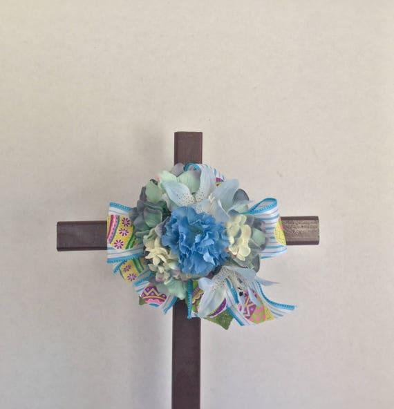 Easster Cemetery flowers , Cemetery Cross, Easter Grave flowers, Roadside Memorial, Grave Marker, Memorial Cross,