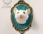Taxidermy Mouse Head Mount - Turquoise/Antique Brass