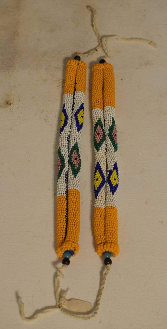 African Zulu Pair Anklets Orange White South African Bride Beaded Zulu Anklets