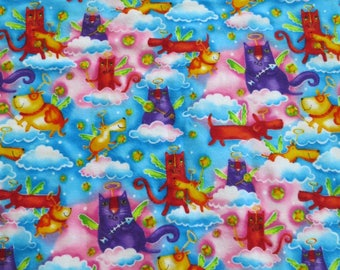 """Fun and bright, """"Cute to Boot"""" Tim Coffey for Robert Kaufman screen printed cotton fleece fabric #5067 with cat and dog motif. 11 yards."""