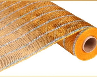 "21"" Gold Silver Stripe Deco Mesh, Gold Deco Mesh, Gold Deco Poly Mesh (10 Yards) - RE1033G8"