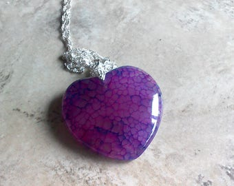 Pink Heart Agate Pendant Necklace