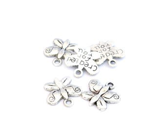 Set of 5 silver color Butterfly charms