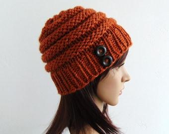 Orange Knit Hat - Merino Wool - Knit Beanie - Beehive Hat - Handmade in Alaska - Women's Winter Hat - Gift for Her - Alaskan Knit Gifts