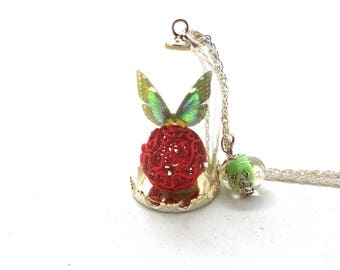 Glass globe Green Butterfly, red ball Bead Necklace