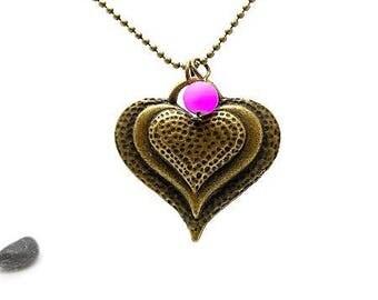 Long necklace mi bronze heart and purple bead