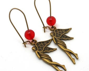 Fairies and Red natural Pearl Earrings