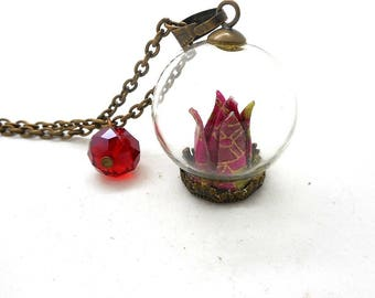 Origami red flower glass globe necklace, beads spun