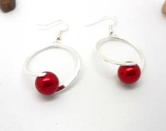 Dangle earrings red bead hoop earrings