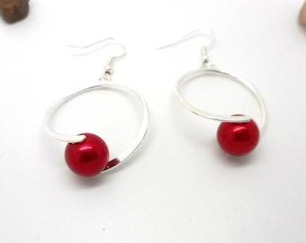 Dangle earrings red bead hoop earrings