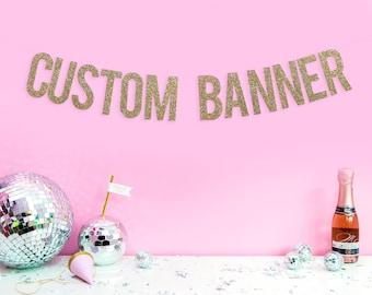 Champagne GLITTER BANNER / CUSTOM Banner / Personalised Banner / Wedding Bachelorette Photoshoot Party Banner
