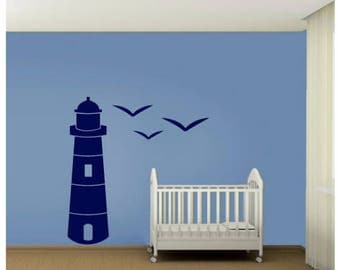 Lighthouse Wall Decal - Nautical Wall Decal -Sailing Decal - Kids Decals - Kids Room and Birds  Decal - Sailing Wall Deca