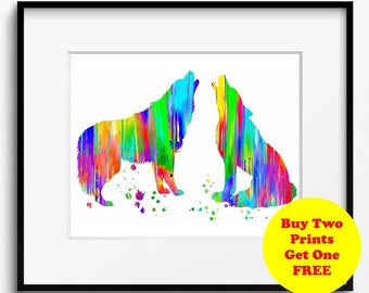 Wolves Watercolor Art Print (160)