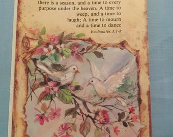 Christian Birthday Greating Card featuring a Pair of Doves and Scripture from Ecclesiates; Spiritual Birthday Card