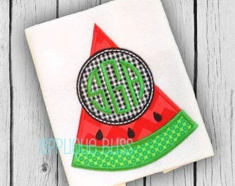 Monogram Watermelon Applique Design - Picnic - Summer - Applique Design - BBQ - Insect - Vacation - Food - Fruit