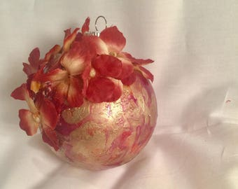 Burgundy Red, Gold Marble Hand  Swirl Painted Glass Ball Christmas Ornament Hydrangeas Tag