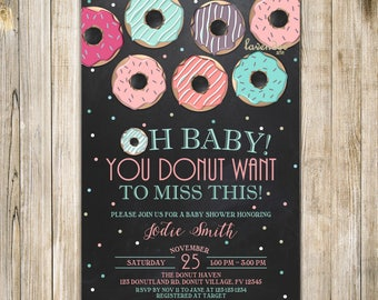 CHALKBOARD DONUT BABY Shower Invitation, Teal Pink Mint Breakfast Baby Shower Invite, Girl Shower, Donut & Pajamas, Donut Want to Miss, LA22