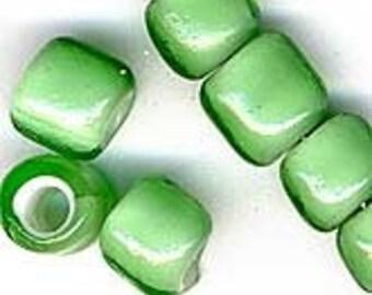 French Whiteheats Transparent Green Bead. 6x7mm. Pkg of 10. b11-gr-0820(e)