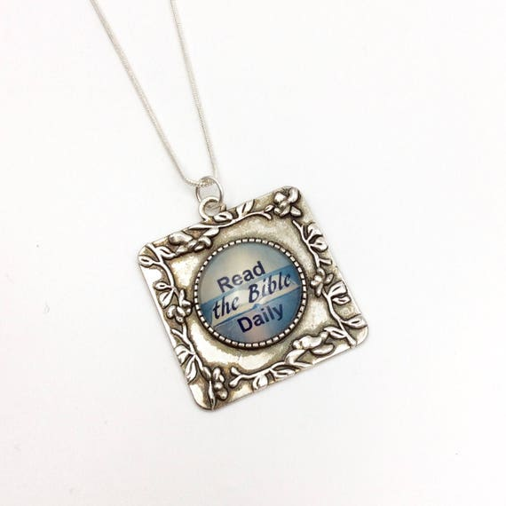 "JW Square Pendant ""Read God's Word Daily"" glass in Antique Silver tone with chain and Blue Monkey Gallery Gift Bag! Great JW gift #7"
