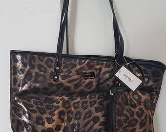 Nine West Leopard Print Purse Tote Bag w/ Coin Purse NEW Gold and Black with Patent Leather 15 x 11